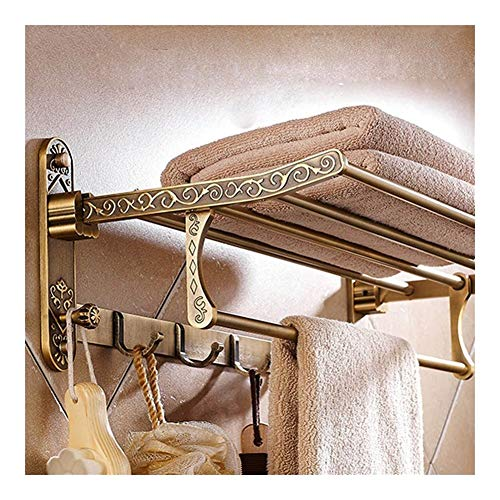 Toallero De Baño De Latón Antiguo Plegable De Aluminio Soporte De Toalla De Baño Activo Estante De Toalla Doble con Ganchos Accesorios De Baño
