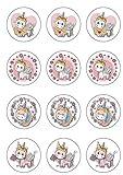 12 Aufleger Einhorn Unicorn für Kekse Muffins aus Zucker ohne Palmöl Glutenfrei