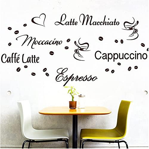 Yyhmkb Cappuccino Espresso Caffe Latte Coffee Beans Etiqueta de la pared de la cocina, Negro Marrón