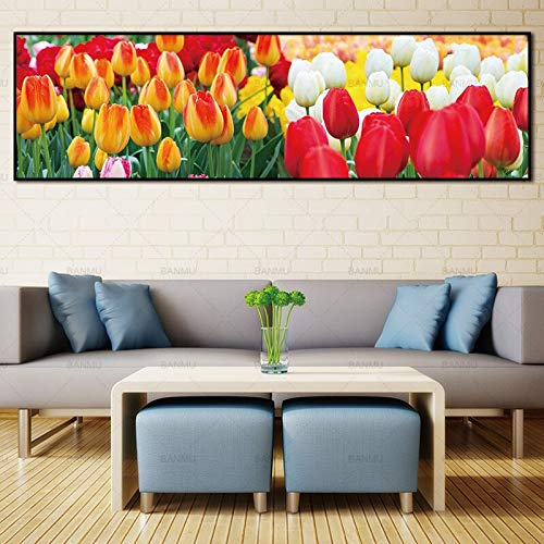 ganlanshu Wandmalerei Wandmalerei Blumenmalerei Kunstmalerei Poster Wandmalerei rahmenlose Malerei 70cmX245cm
