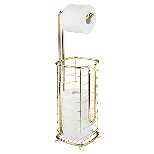 mDesign Free Standing Toilet Paper Holder Stand and Dispenser, with Storage for 3 Spare Rolls of Toilet Tissue While Dispensing 1 Roll - for Bathrooms/Powder Rooms - Holds Mega Rolls - Soft Brass