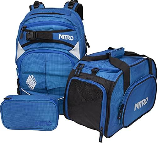 Nitro Superhero, Schulrucksackset, Rucksack, Backpack, abnehmbarer Hüftgurt, robuste Bodenplatte, Thermotasche, Laptopfach, Sporttasche & Pencil Case XL,Blur Brill Blue