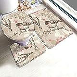 N/C Badezimmerteppich-Set, Vintage-Tapete mit Vogel-Motiv, U-Form, rutschfest, für den Innenbereich, personalisierbar