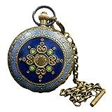 LAOJUNLU - Reloj de bolsillo con doble apertura de cobre y cierre de doble apertura (omega) de una pieza de imitación de bronce antiguo de la colección de solitaria joyería de estilo chino tradicional