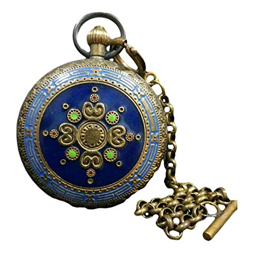 LAOJUNLU - Reloj de bolsillo con doble apertura de cobre y c