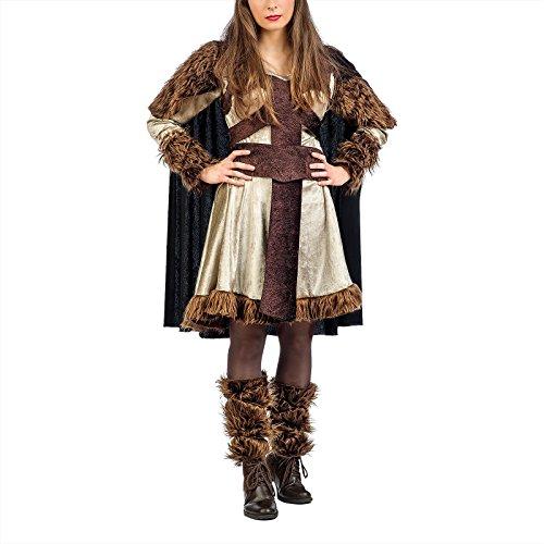 Elbenwald Vikingo Damenkostüm Bera con Piel 3 pcs. Vestido con puños Cape - M