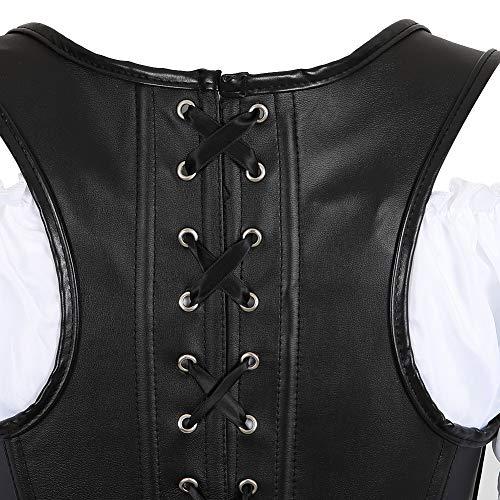 Grebrafan Faux Leather Zip Corset 3 Piece Outfits for Women Bustiers Skirt White Blouse Set (UK(12-14) XL, Black) steampunk buy now online