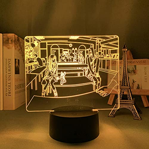 Luz de noche 3D Anime Lámpara de ilusión Luz de noche Led Buena Punpun para la decoración del dormitorio Noche Regalo de cumpleaños Decoración de la habitación Mesa Manga Buena Punpun-Control remoto