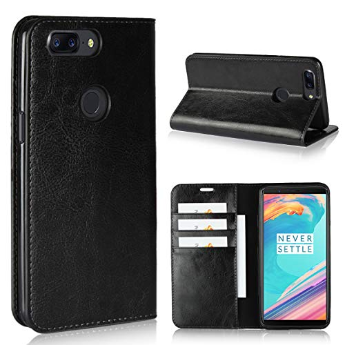 Copmob OnePlus 5T Hülle,Premium Brieftasche Ledertasche Schutzhülle mit [3 Kartenfach/Geldbeutel] [Standfunktion][Stoßfestes TPU],Handyhülle für OnePlus 5T, Schwarz