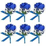 4/6/8PCS Flower Men Boutonniere Handmade Silk Men Corsage for Groom Wedding Party Suits (Royal Blue)