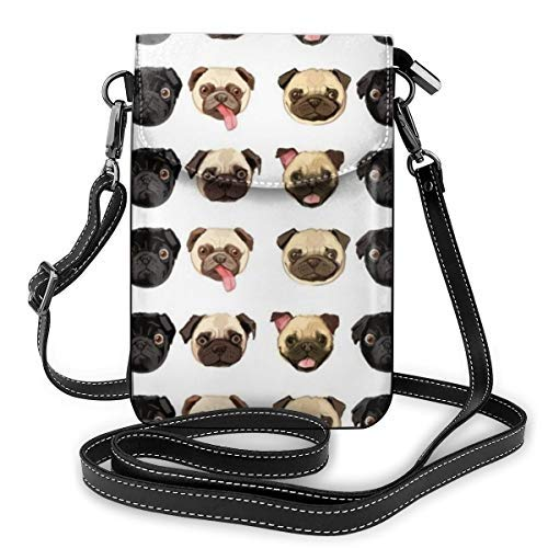XCNGG Women Soft PU Leather Cellphone Purse Wallet Black Yellow Pug Handbag Small Crossbody Shoulder Bag Pouch for Travel Shopping Working