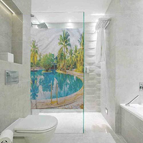 Glaspapier-Fenster-Dekorfolie, Landschafts-Pool, Resort, Reise, Zuhause, Badezimmer, Toilette, Dekoration, 60 x 200 cm (B x L)