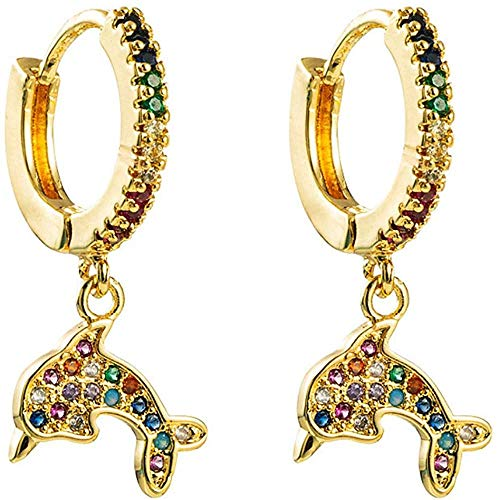 Gymqian Ladies Drop Earrings Cute Dolphin Zircon Earrings for Temperament Jewelry Accessories Sweet Earrings Retro