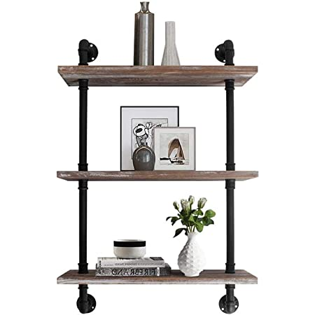 AZ L1 Life Concept, Retro Industrial Pipe Bookcase,Wall-Mounted 3-Tiers Rustic Metal Floating Wood Shelving, Weatherd Brown 24 Inch