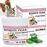 SEGMINISMART Augen-Reinigungspads für Hunde und Katzen, Haustier-Augen-Tücher, Milde Augen-Reinigung ohne zu Reizen, Entfernt sanft Tränenstein und Speichel-Reste, 100 Stück