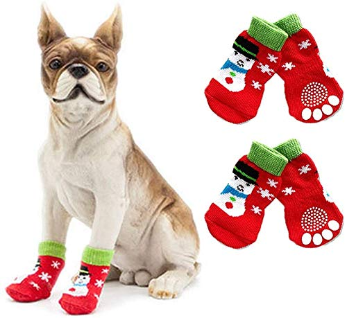BESUNTEK Dog Socks Non-Slip Pet Socks with Rubber Reinforcement Knit Socks for Dogs with Traction Soles Dog Paw Protector for Indoor Wear,4PCS (M, Green and Red)