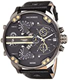 Diesel Men's Mr Daddy 2.0 Quartz Stainless Steel and Leather Chronograph Watch, Color: Grey, Black (Model: DZ7348)