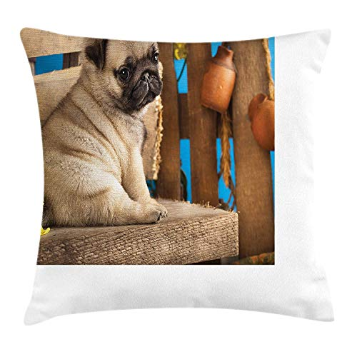 Preisvergleich Produktbild KLYDH Pug Throw Pillow Cushion Cover,  Adorable Puppy Photography with Sad Dog and Wildflowers on a Park Bench,  Decorative Square Accent Pillow Case,  18 X 18 Inches,  Pale Brown Yellow Blue