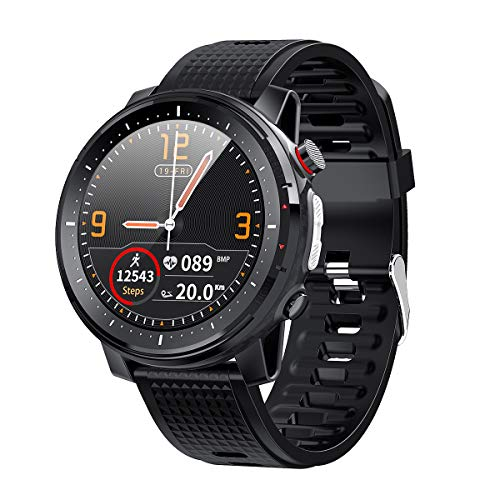 Microwear L15 Smartwatch Herren,Fitness Tracker,Smart Watch Rund IP68 Wasserdicht,Sportuhr mit Taschenlampe Schrittzähler Stoppuhr,iOS Android Kompatibel