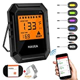 HAUEA Meat Thermometer Bluetooth, Smoking Thermometer Smart Cooking Thermometer with 6 Probes f…