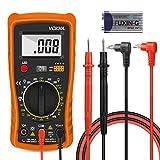 Multímetro Digital Profesional, Voltímetro Amperímetro Probador Voltaje Continuidad, Hospaop Medidor Corriente, Mini Multímetro Portátil con Pantalla LCD para Medir AC DC Resistencia