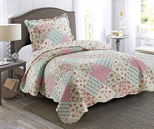 Brilliant Sunshine Pink and Green Rose Patchwork, 2-Piece Quilt Set, Reversible Bedspread, Lightweight Coverlet, All-Season, Twin, Pink Green