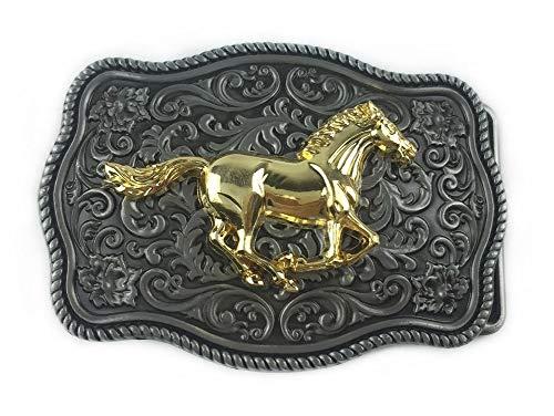 Onbekende riemgesp paard golden en achtergrond, bloemenstijl westers, cowboy westers.