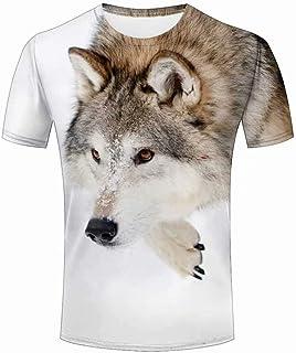 メンズ Tシャツ 半袖 3D おもしろ プリント 夏 吸水速乾 無地 男女兼用 トップス 動物のオオカミ 柄