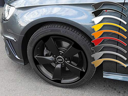 8-9x19 Zoll Felgen-Aufkleber für A3 TT RS3 8P Audi 5-Arm Rotor Felgen Rim Decal (Schwarz)