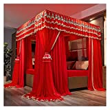 Bed Canopy Four- Corner Column Luxury Palace Bed Canopy, Curtains for Wedding Bedding, Double Layer Bed Cover is Used for The 1.5m/1.8m/ 2m Double Bed, with Frame (Size : 180x200x200cm)