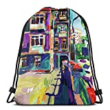 ATUEMACO Original Plein Air pintura al óleo digital Town Old Mochila con cordón Bolsas de playa Gimnasio Natación Deportes Cuerda Mochilas Bolsa Bolsa de almacenamiento a granel