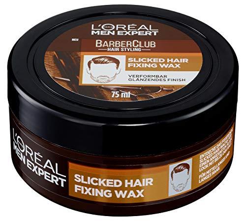 L'Oréal Men Expert Barber Club Slicked Hair Fixing Wax, Haarwax für einen starken Halt ohne zu verkleben (1 x 75ml)