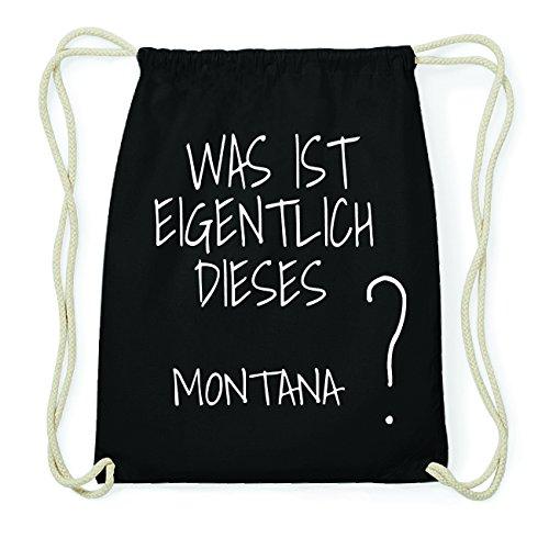 jollify Montana Hipster Sac de gym en coton Sac à dos – Couleur : Noir, Design: Was ist eigentlich