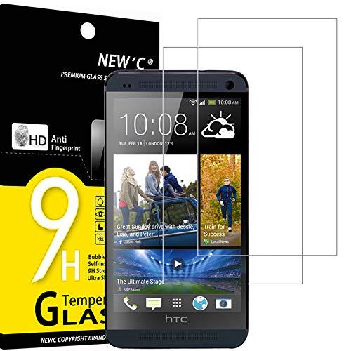 NEW'C 2 Unidades, Protector de Pantalla para HTC One M7, Antiarañazos, Antihuellas, Sin Burbujas, Dureza 9H, 0.33 mm Ultra Transparente, Vidrio Templado Ultra Resistente
