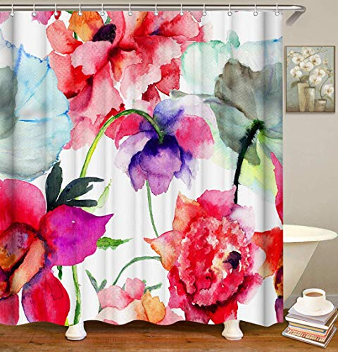 LIVILAN Watercolor Flower Shower Curtains, Floral Fabric Shower Curtain Set with Hooks Spring Abstract Red Bathroom Decor 72x72 Inches Machine Washable