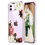 Hepix White Purple Flowers iPhone 11 Cases for Women Girly Floral Clear 11 iPhone Case, Crystal Slim Flexible TPU Frame with Four Protective Bumpers Camera and Screen Protetcion for iPhone 11 (6.1')