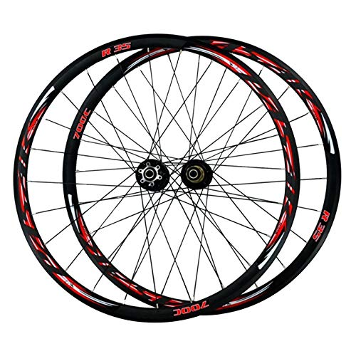 CHICTI 29-inch Bicycle Wheels,24 Holes Double-layer Aluminum Alloy Rim V Brake/disc Brake Off-road 700C Bike Wheelset Outdoor (Color : Red)