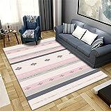 La Alfombra Alfombra habitacion Juvenil Suave y Confortable Alfombra de diseño geométrico Negro Rosa Durable Alfombra Salon decoración para Dormitorio de bebé 60*160CM