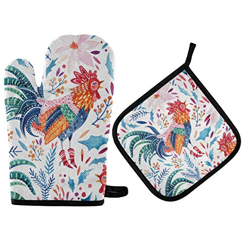 AUUXVA HAIIO Oven Mitt and Potholder Sets Tribal Flower Leaves Rooster Quilted Cotton Lining Heat Resistant Pad for Kitchen Baking Cooking