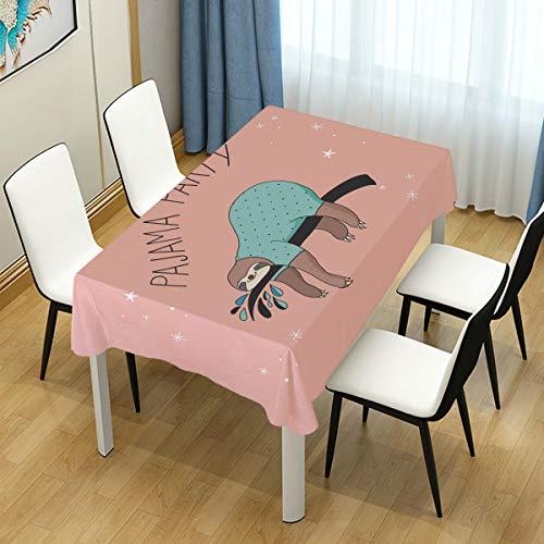 LIUBT Niedlicher Faultier-Pyjama, rechteckig, Tischdecke, Hochzeit, Party, Esszimmer, Picknick, Küche, waschbar, 152 x 274 cm