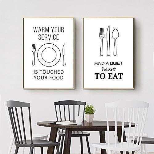 Zwart Wit Servies Art Canvas Schilderij Print Mes en Vork Plaat Poster Muur Foto voor Restaurant Modern Home Decor 70x95cmx2Pcs Frameless