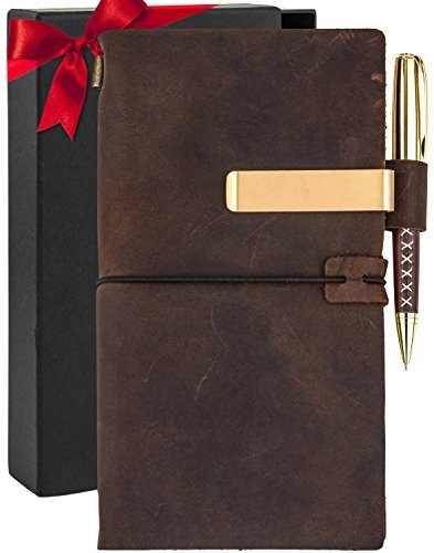 Leather Journal For Mens Womens - Genuine Brown Travelers Notebook - Large Vintage Book - Personalized Refillable Bound Diary - Real Handmade Travel Writing Notebook - Black Gift Set