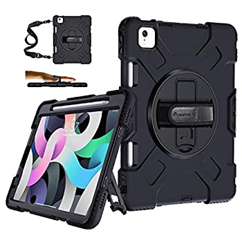 iPad Air 4th Generation Case iPad Air 4 Case with Pencil Holder Military Grade 15ft Drop Tested Shockproof Protective Cover + Stand + Hand& Shoulder Strap for iPad 10.9 & Pro 11 Inch 2020/2018 Black
