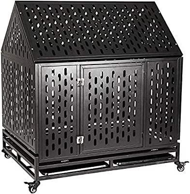 petgroomingtable Heavy Duty Dog Crate Cage Kennel Playpen Large Roof Strong Metal Outdoor for Large Dogs Cats with Two Prevent Escape Lock and Four Lockable Wheels, 42''