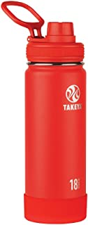Takeya Actives Insulated Stainless Water Bottle with Insulated Spout Lid, 18oz, Fire