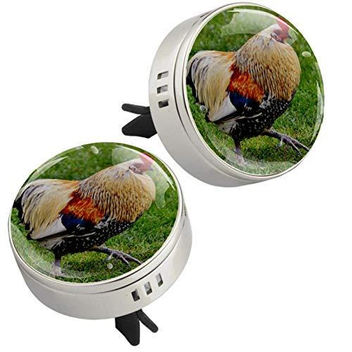 Z&Q 2 Piezas de Medallón con Clip de Ambientador Pollo Gordo Difusor de Aceite Esencial de Aromaterapia de Coche con 4 Piezas Estera de suplemento de PE 33.8mmX46.4mm