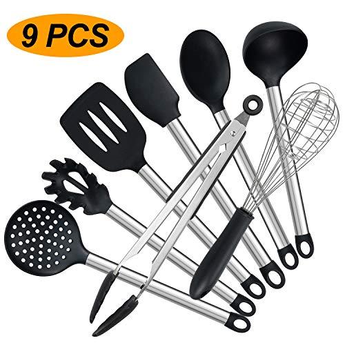 Set di utensili da cucina, 9 pezzi in silicone antiaderente, resistente al calore, con manico in acciaio inox (senza BPA)