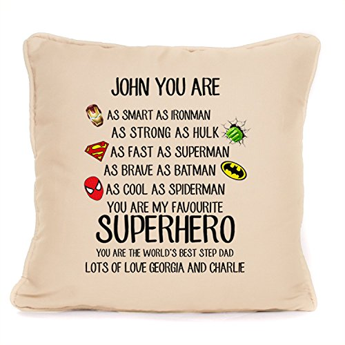 Personalised Superhero World's Best Step Dad Cushion With Pad | Best Throw Pillow| Best Gift Present Ideas For Dad, father, stepdad |18 x 18 Inch|