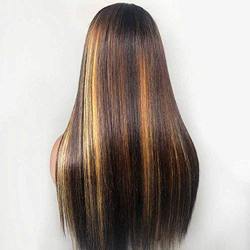 Wig Women Wigs 13 * 4 Highlight Invisible Color Long Straight Lace Front Human Hair Wigs for Women Brazilian Remy Hair Wig Bleached Knots