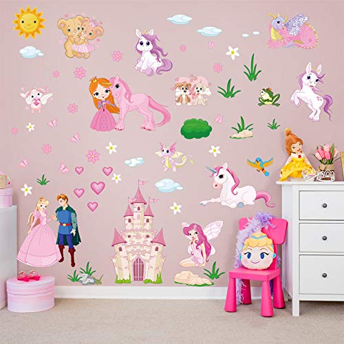 decalmile Pegatinas de Pared Unicornio Princesa Vinilos Decorativos Castillo Hadas Adhesivos Pared...